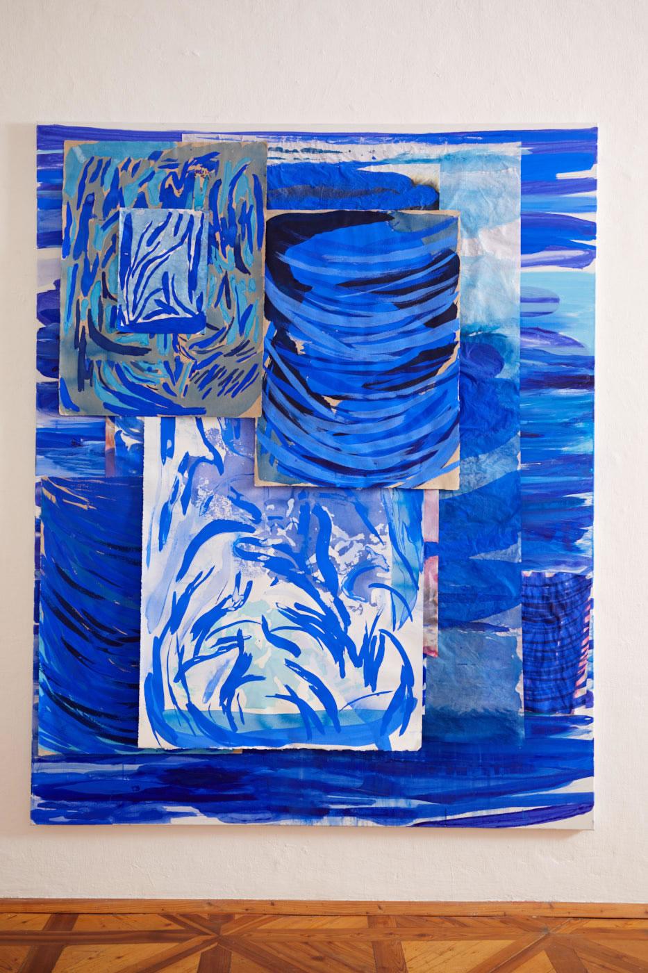 Veronika Dirnhofer | Atem tauschen | 2018 | Mischtechnik und Collage auf Leinwand | 200 x 150 cm | Galerie3 | Foto Johannes Puch