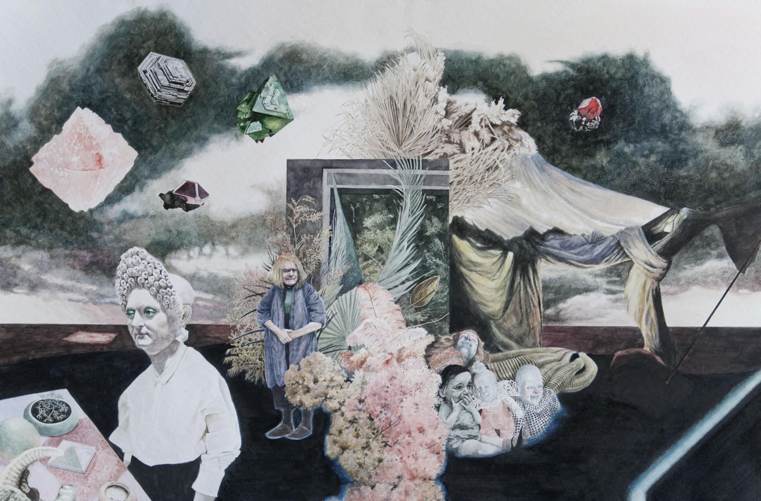 Annemarie Arzberger | Insel | 2019 | 56 x 86 cm | Aquarell | Foto: Manuel Obriejetan | Parallel Vienna 2019 | Galerie3