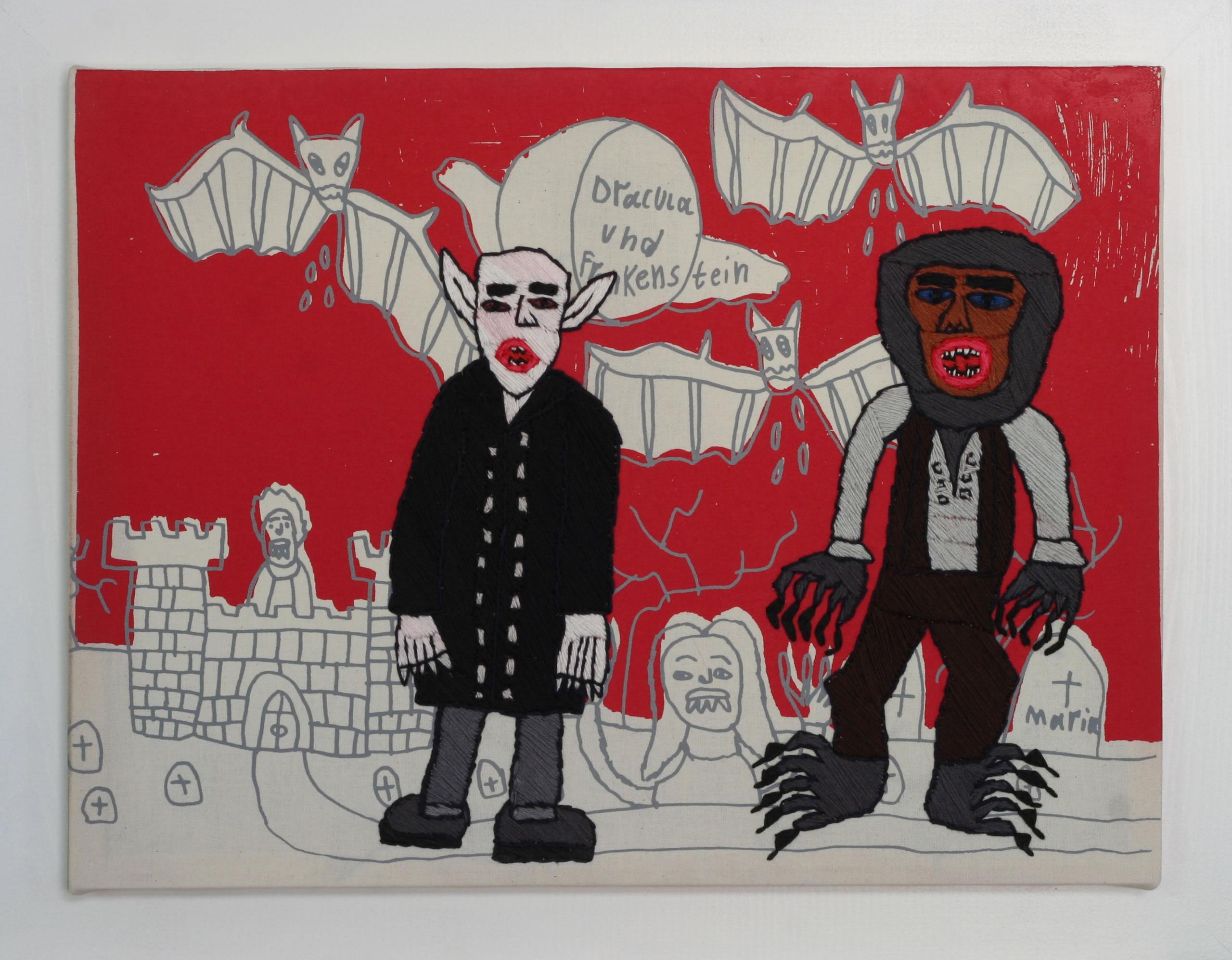 Rohullah Kazimi | Dracula Frankenstein Stickbild | unheimlich heimelig | Galerie3