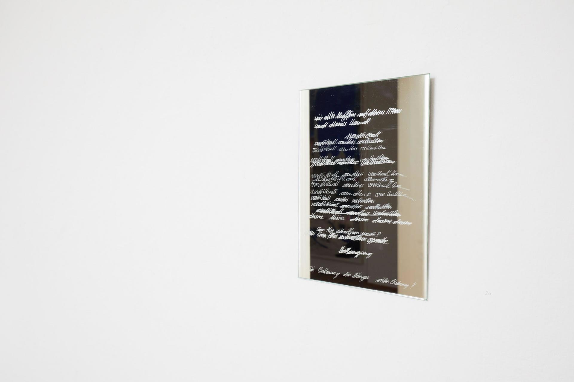 Veronika Dirnhofer | Visible the unseen | 2018 | Spiegel graviert | Galerie3 | Foto Johannes Puch