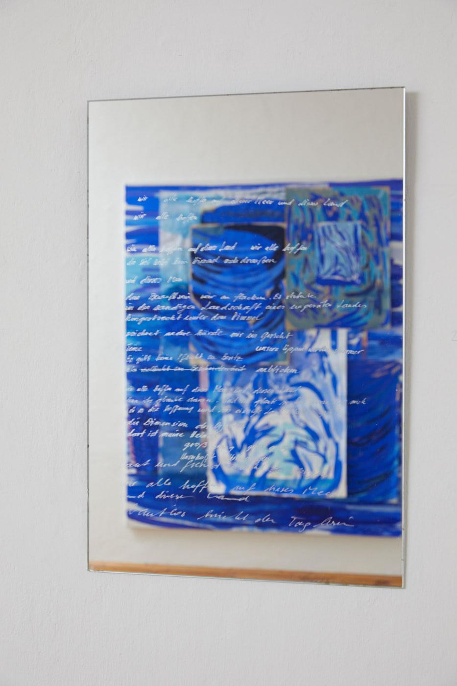 Veronika Dirnhofer | Zeichnet andere Hände mir ins Gesicht | 2018 | Spiegel graviert | 60 x 40 cm | Galerie3 | Foto Johannes Puch