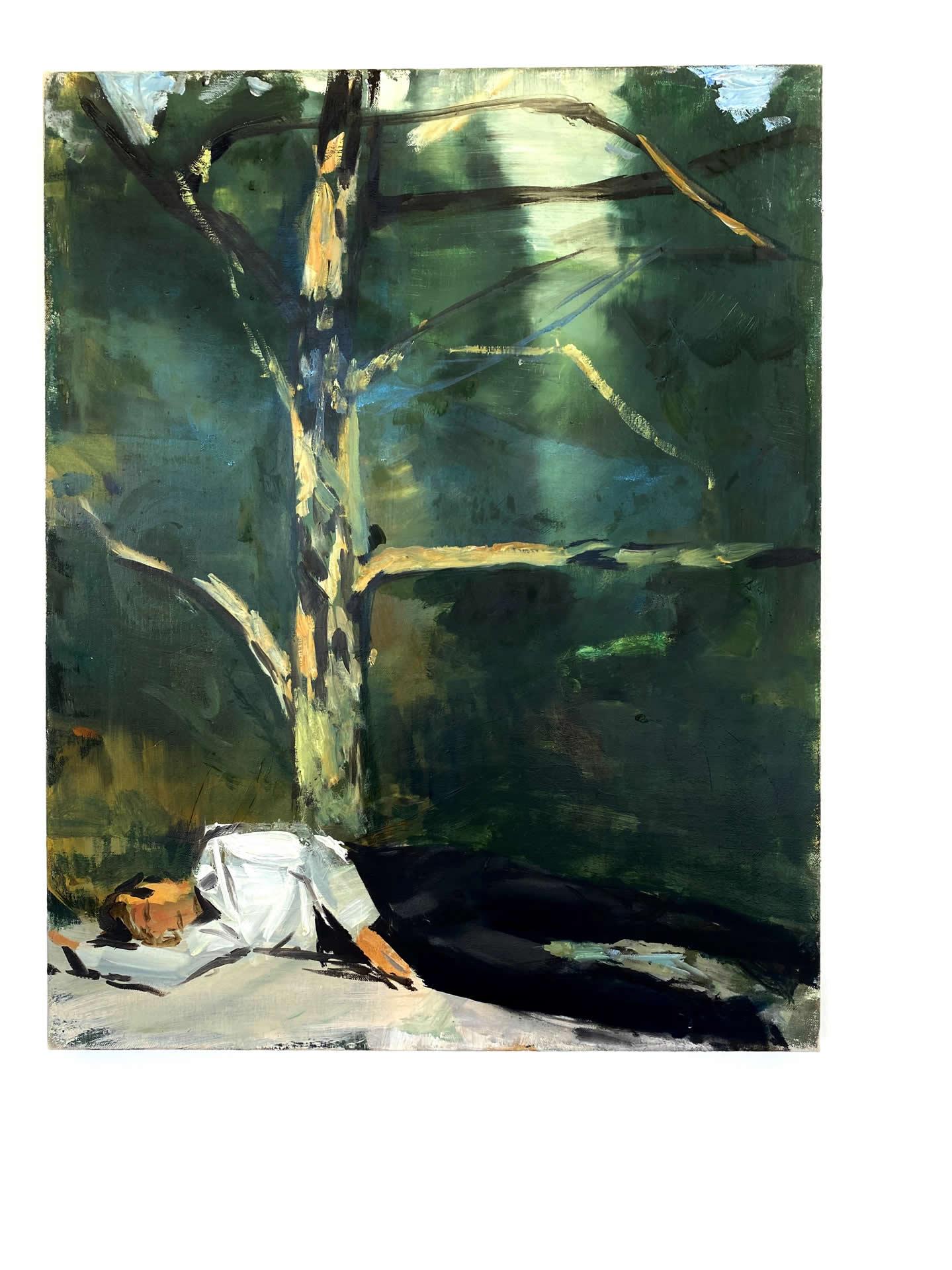 Alex Amann | O.T. (Mann) | 2019 | Öl auf Leinwand | 71x56cm | plaisirs simples | Galerie3