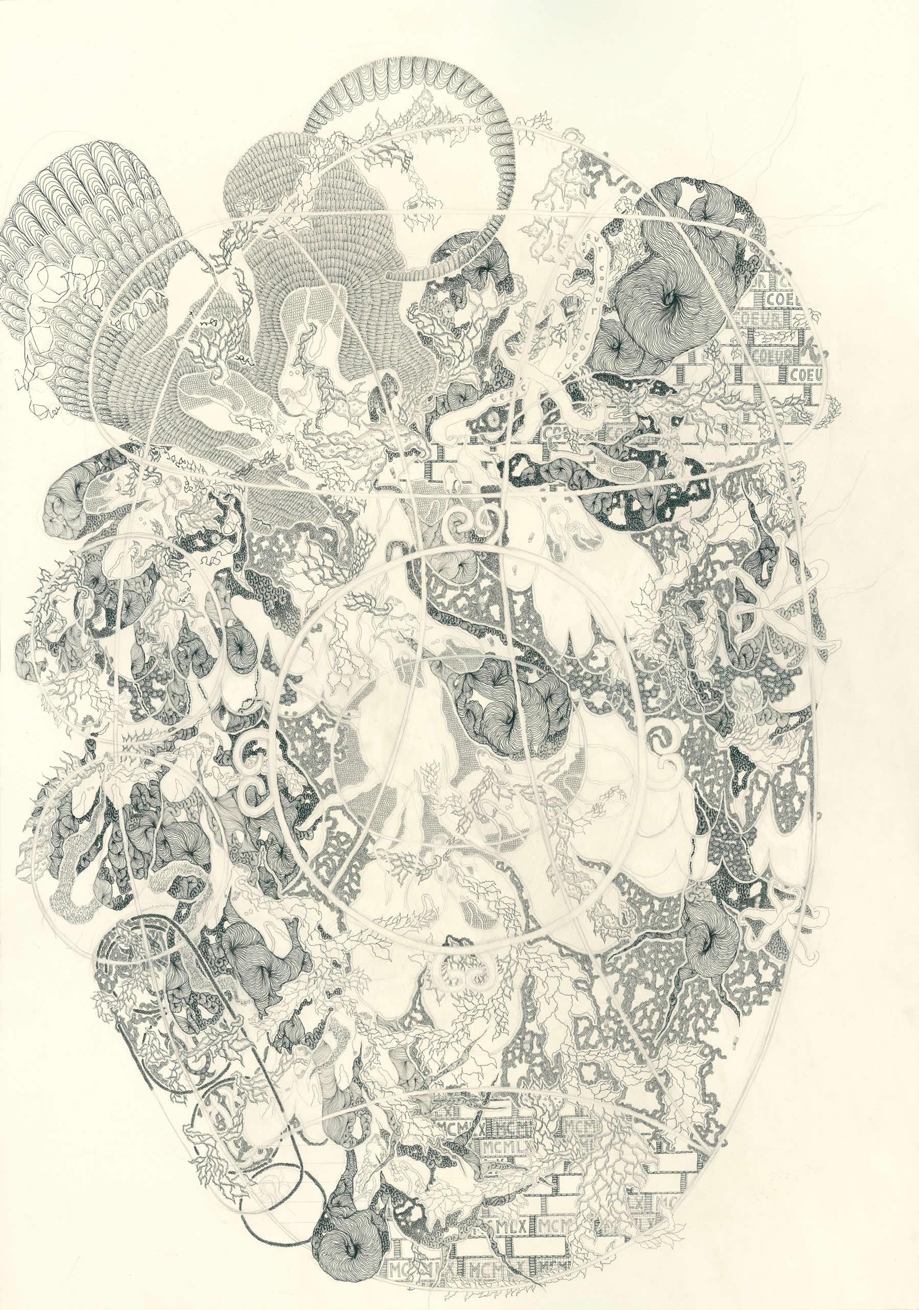 Michaela Polacek | Die Coeurage-Fabèrgéage | 2017 | Bleistift und Tuschefüller auf Papier | 100x70cm | Galerie3