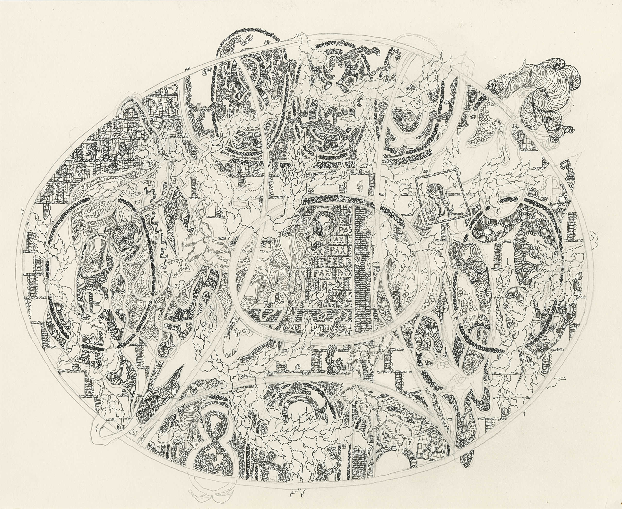 Michaela Polacek | Fabergé-Ei liegend pax nobiscum | 2019 | Tuschefüller, Fineliner und Bleistift auf Papier | 27x33cm | Galerie3