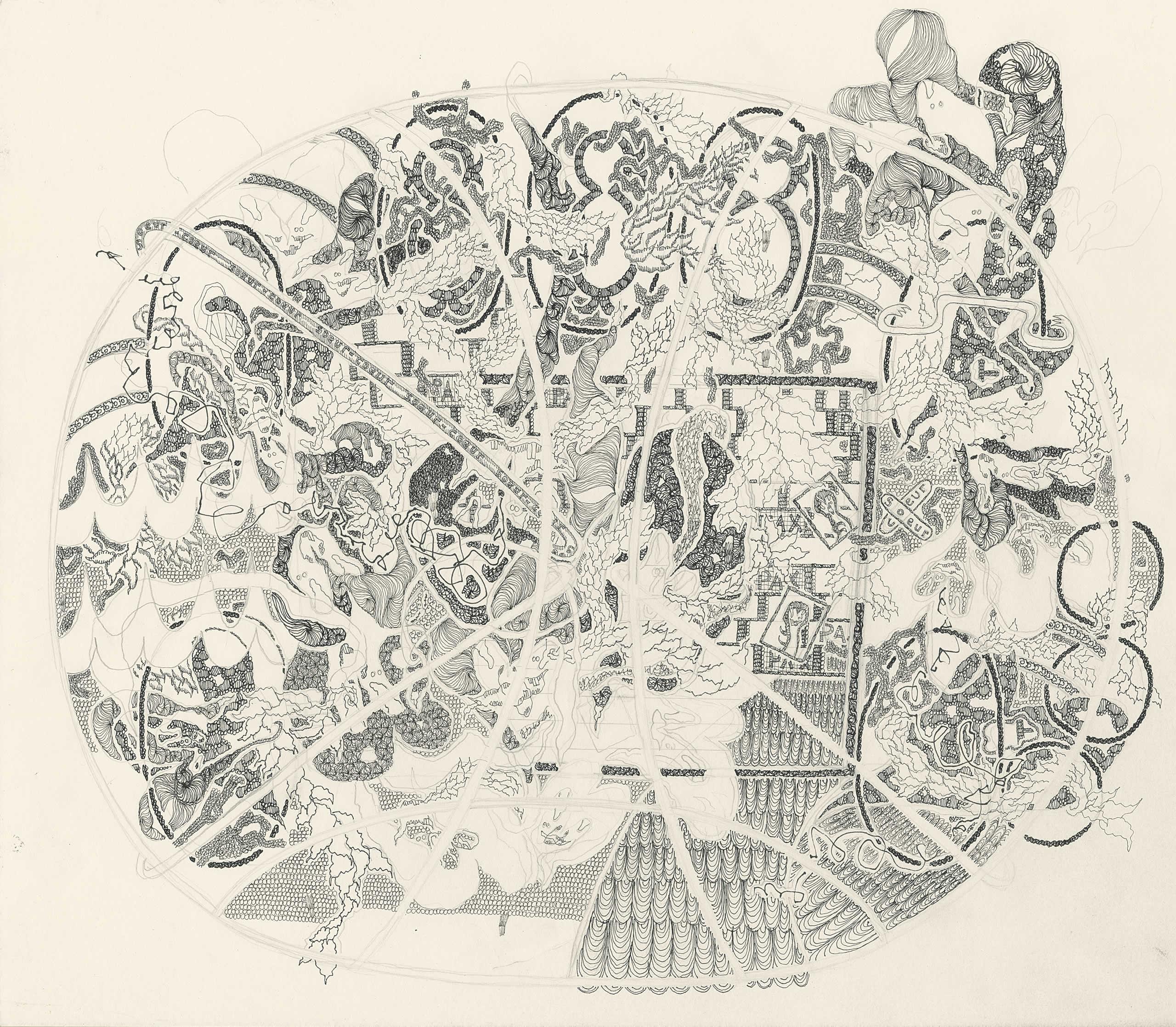 Michaela Polacek | Soeur Coeur Pax Oracel | 2019 | Bleistift und | Tuschefüller auf Papier | 39x45cm | Galerie3