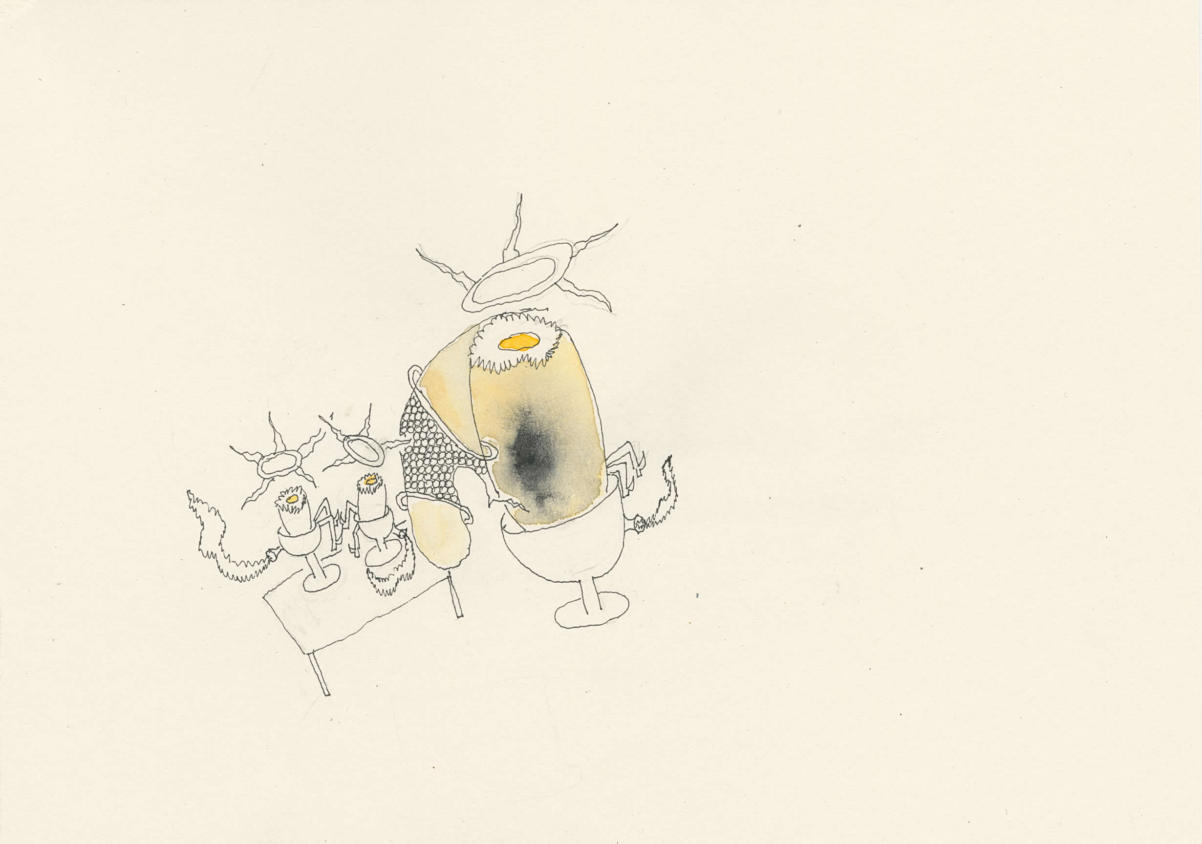 Michaela Polacek | die heilsamen Dreisamen, Eisamen, furzverschwefelt | 2020 | Tusche, Bleistift, Aquarell | 15x21cm | Galerie3