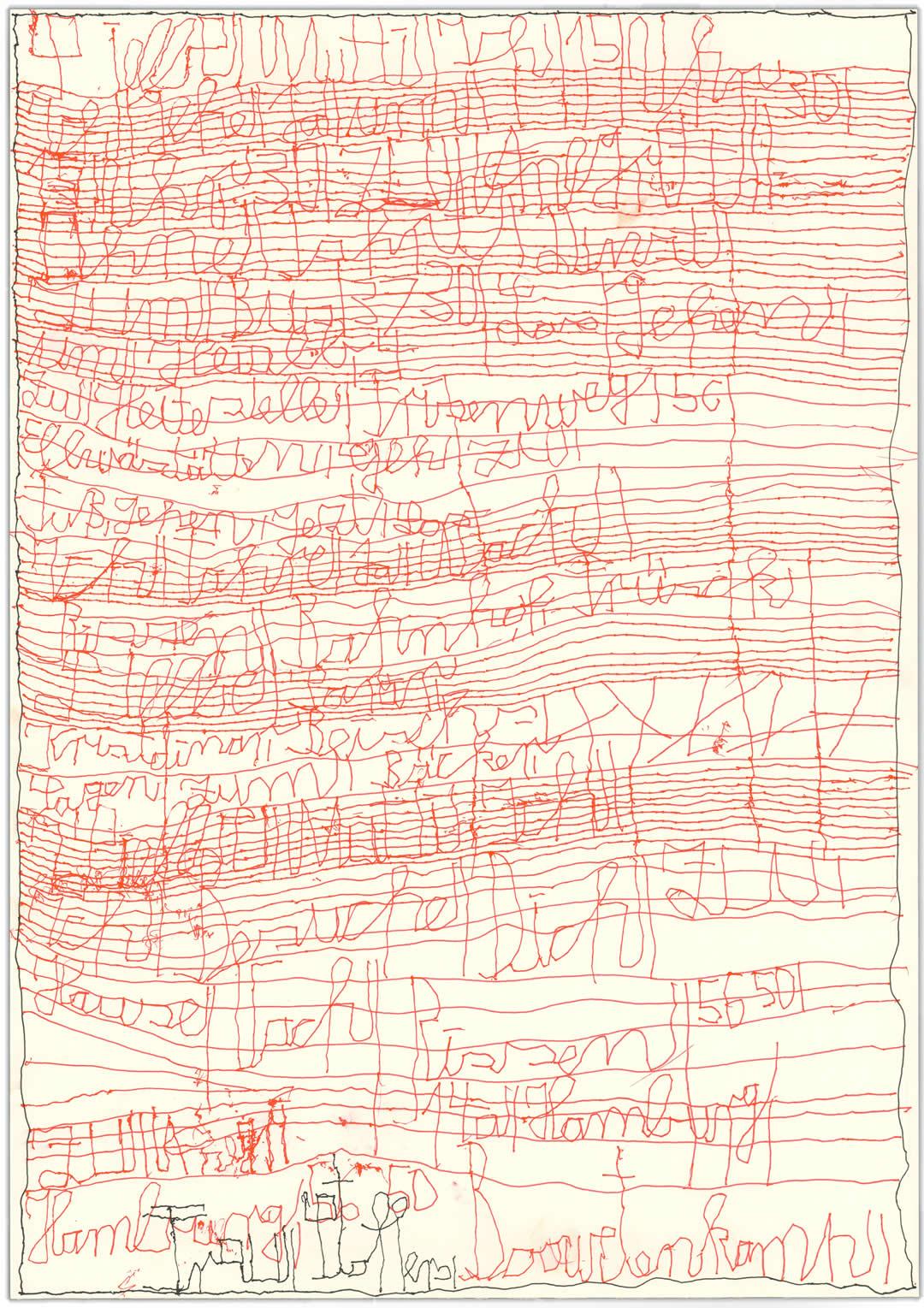 Harald Stoffers | Brief 429 | 2019 | Tinte auf Papier | 42x29.6cm | Courtesy Galerie3 Flux23 Foto Galerie der Villa