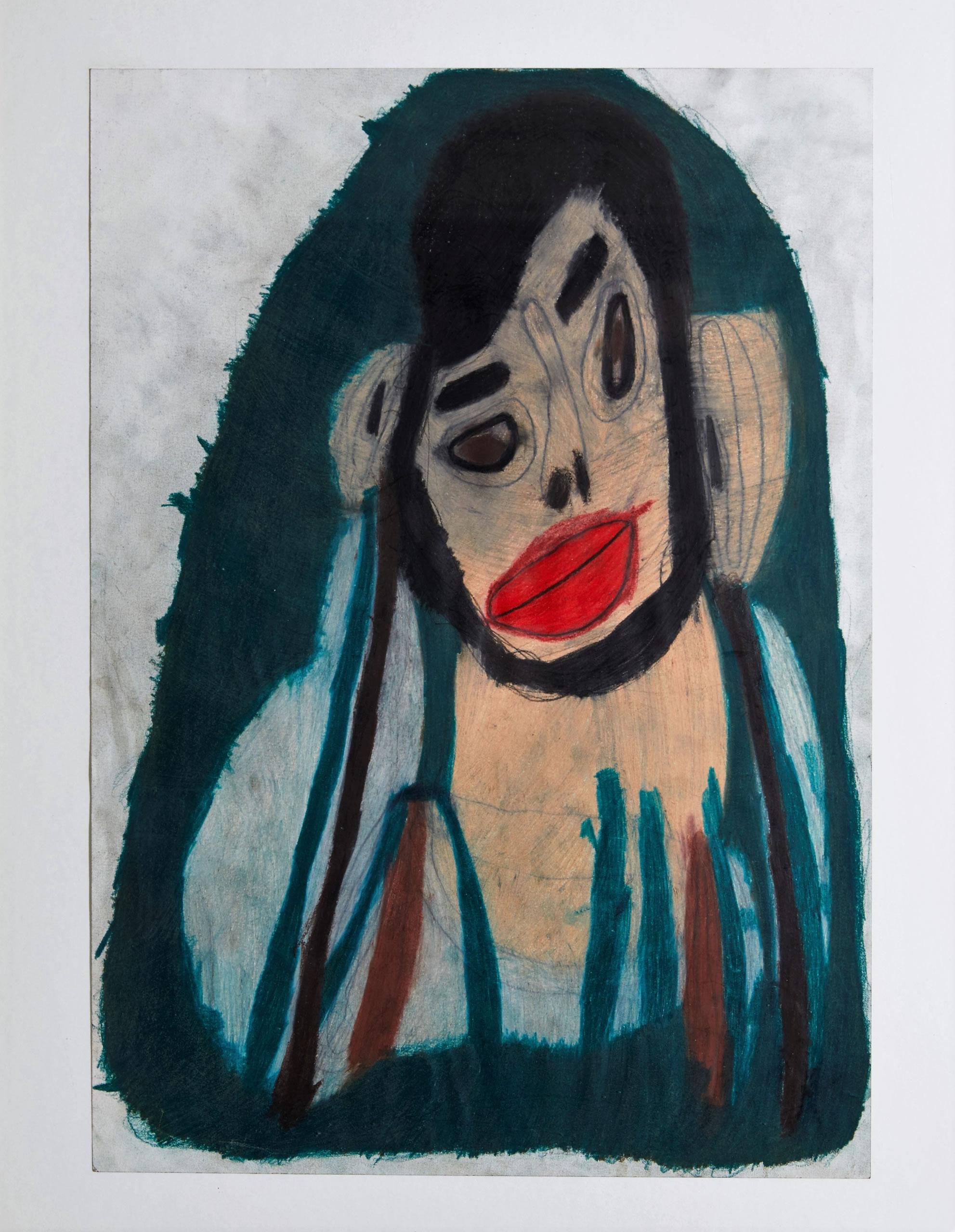 Sylvia Manfreda | Bärtiger junger Mann | 2013 | Buntstift auf Papier | 42 x 30 cm | Foto Johannes Puch | Galerie3