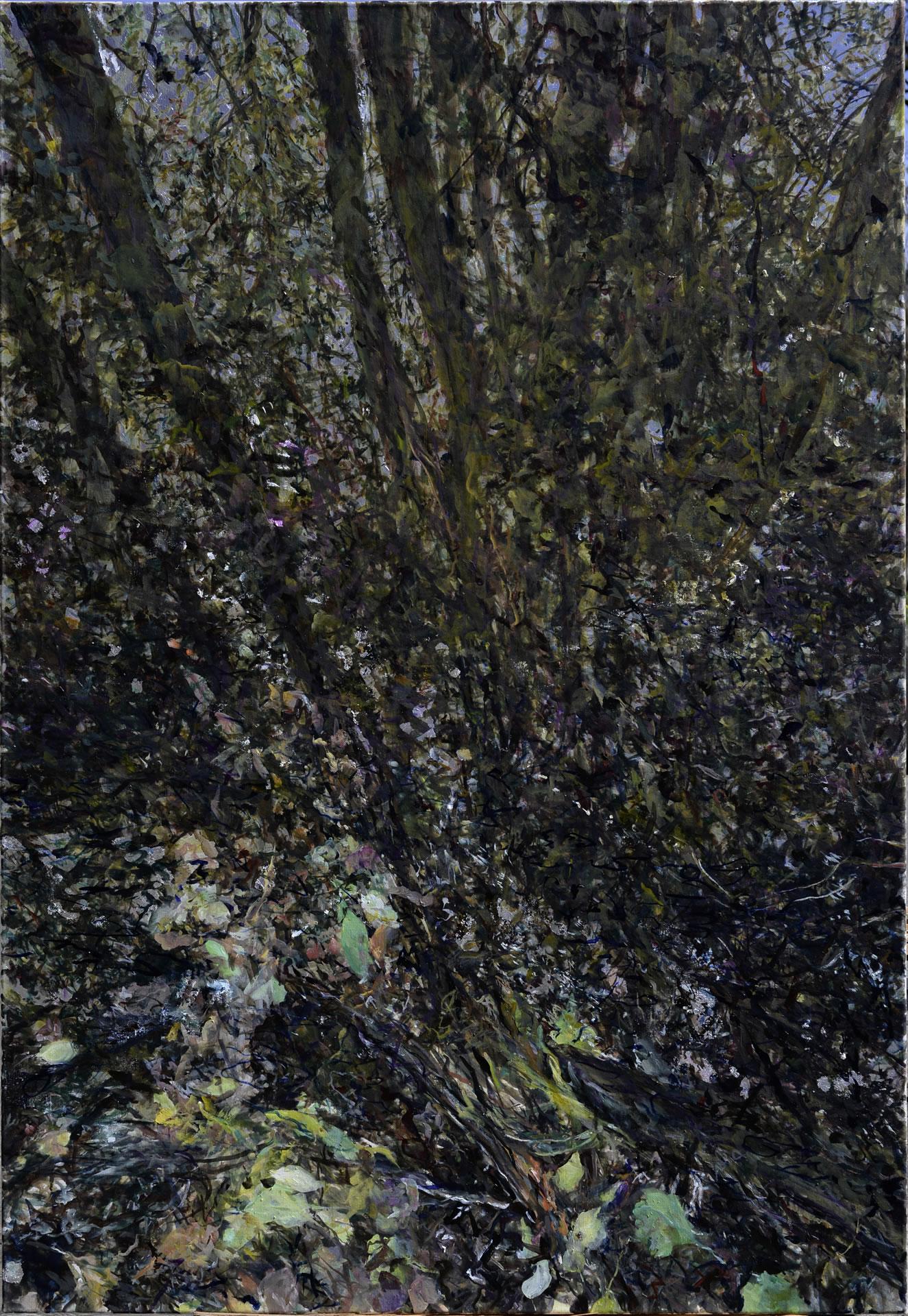 FLUX23 | Markus Orsini-Rosenberg | Reflexionen Bach beim Teich | 2016 | 2018 | Öl Silber LW | 160 x 110 cm