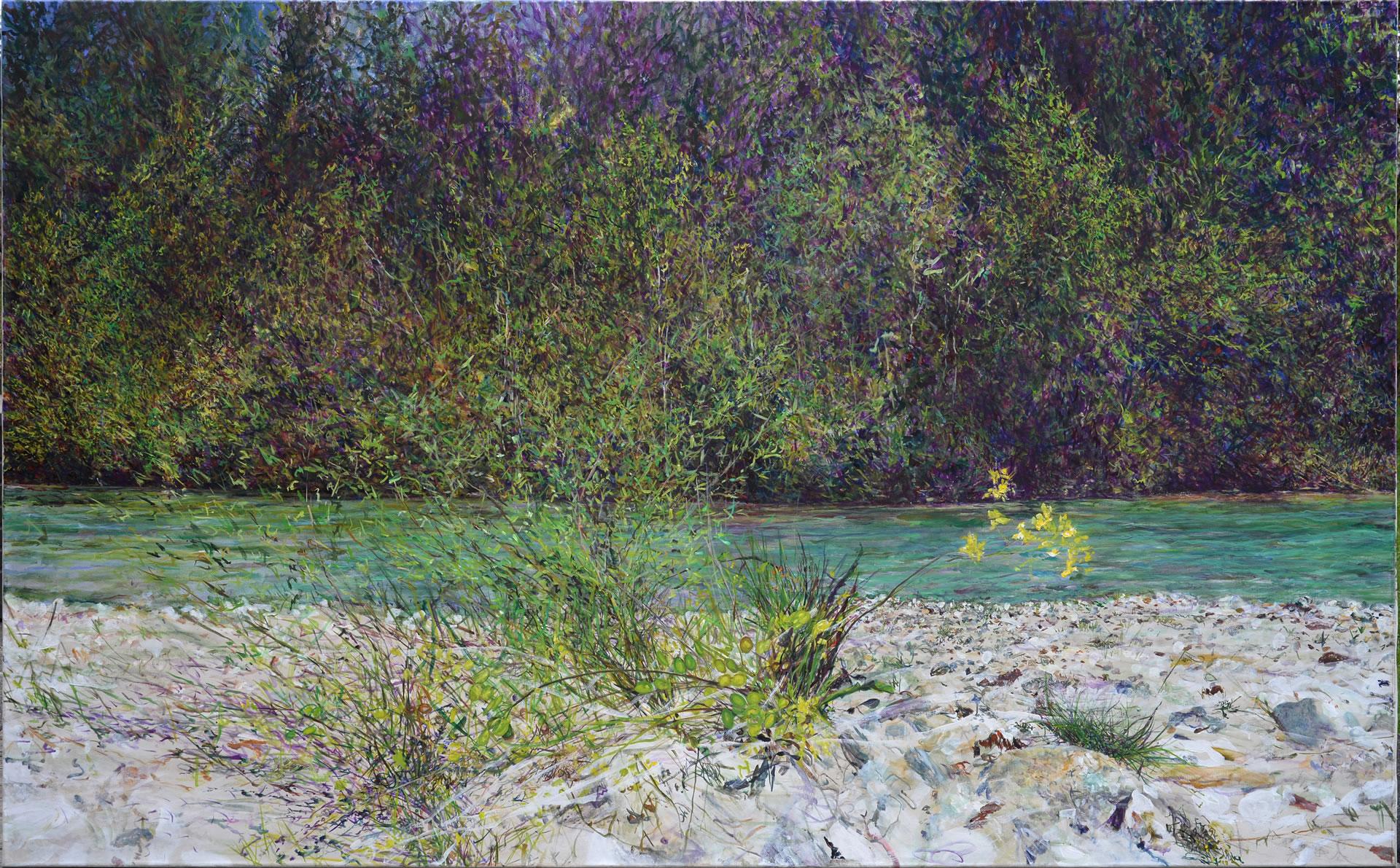 FLUX23 | Markus Orsini-Rosenberg | Gelbe Blume am Fluss | 2018 | 170 x 280 cm