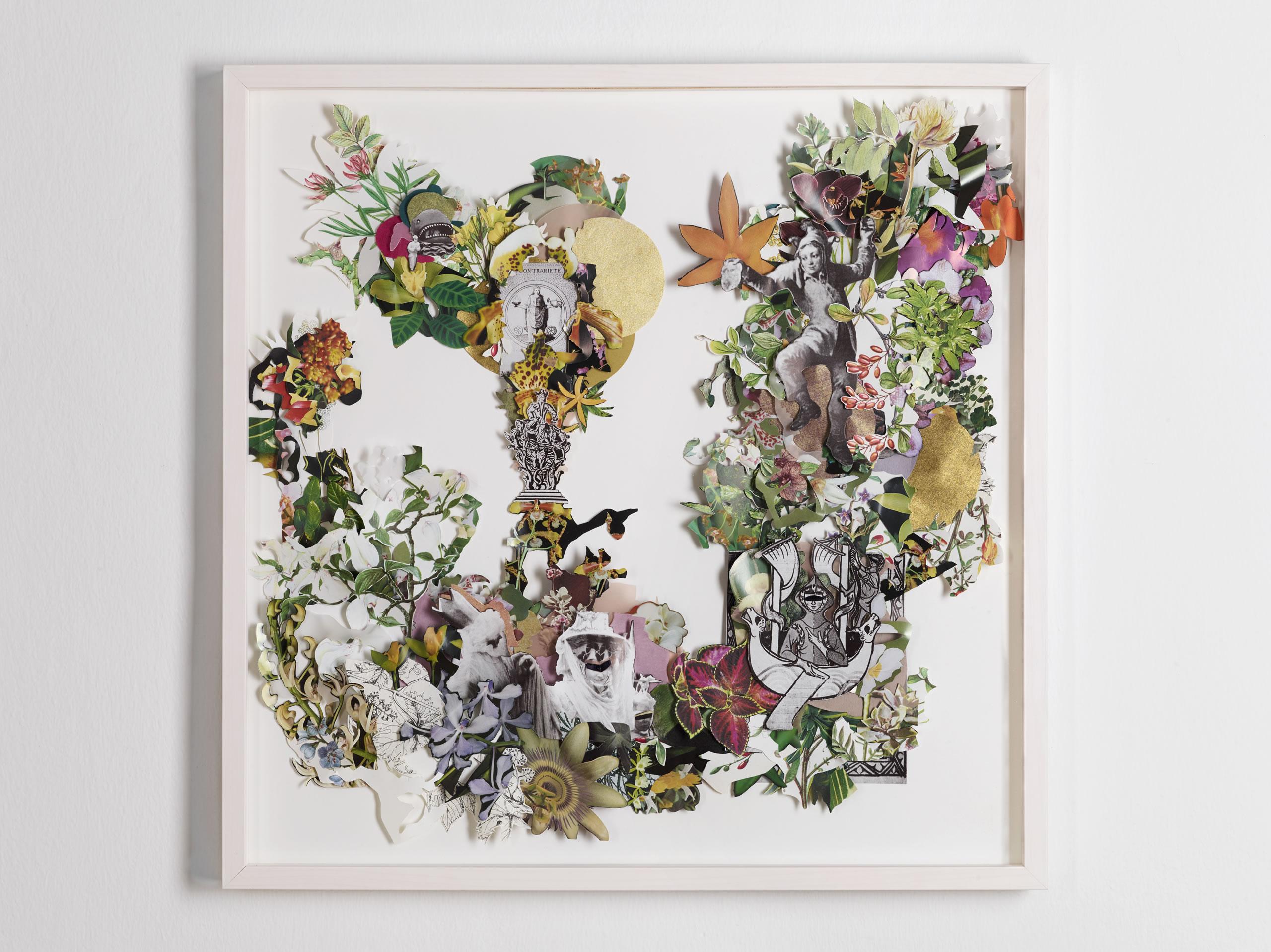 Galerie3 | Karen Elliot | Contrarit | Collage | 2018 | 62 x 62 cm | Foto: Johannes Puch