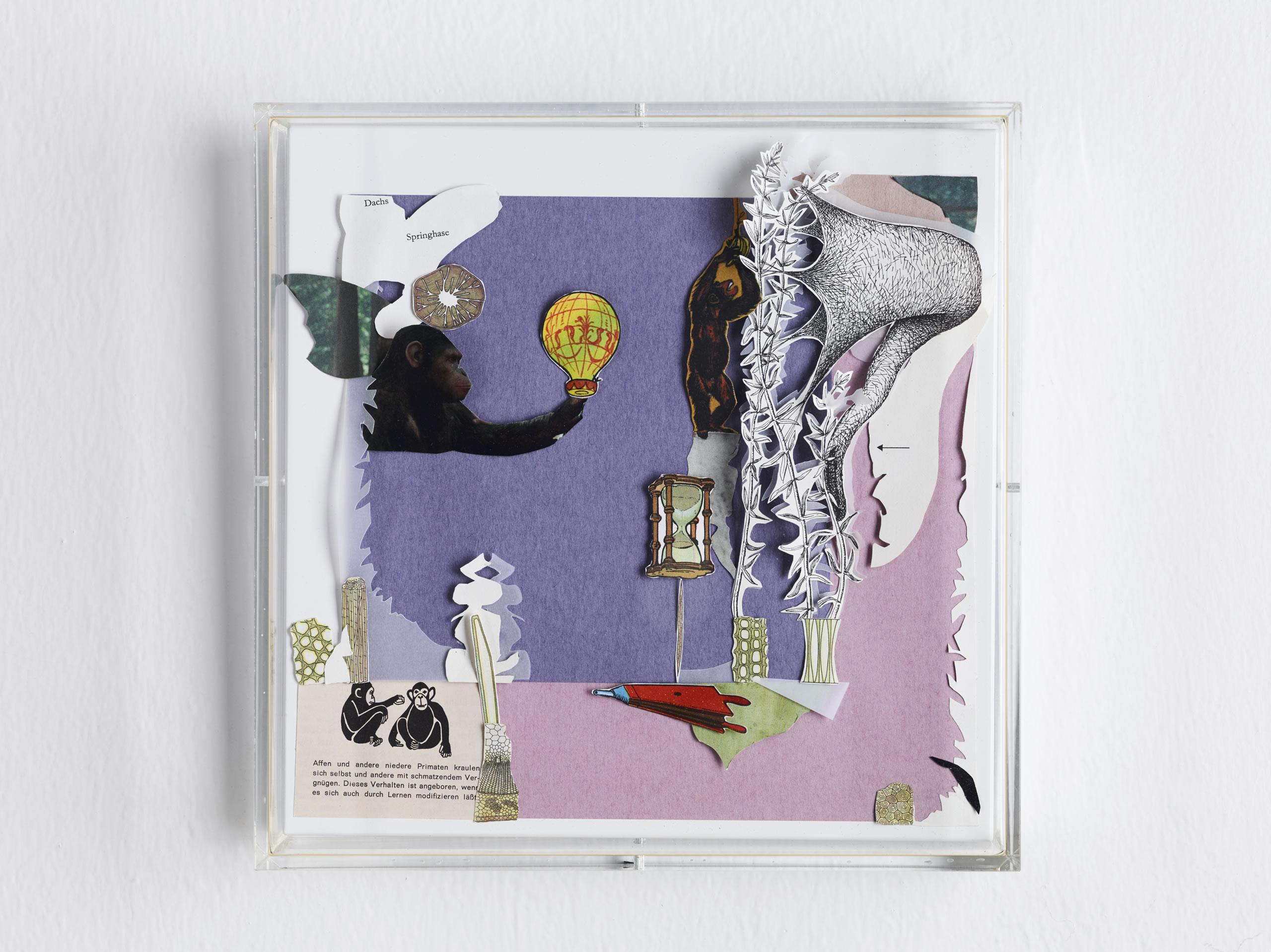 Galerie3 | Karen Elliot | Dachs und Springhase | Collage in Acrylglaskasten | 2017 | 23 x 23 cm | Foto: Johannes Puch