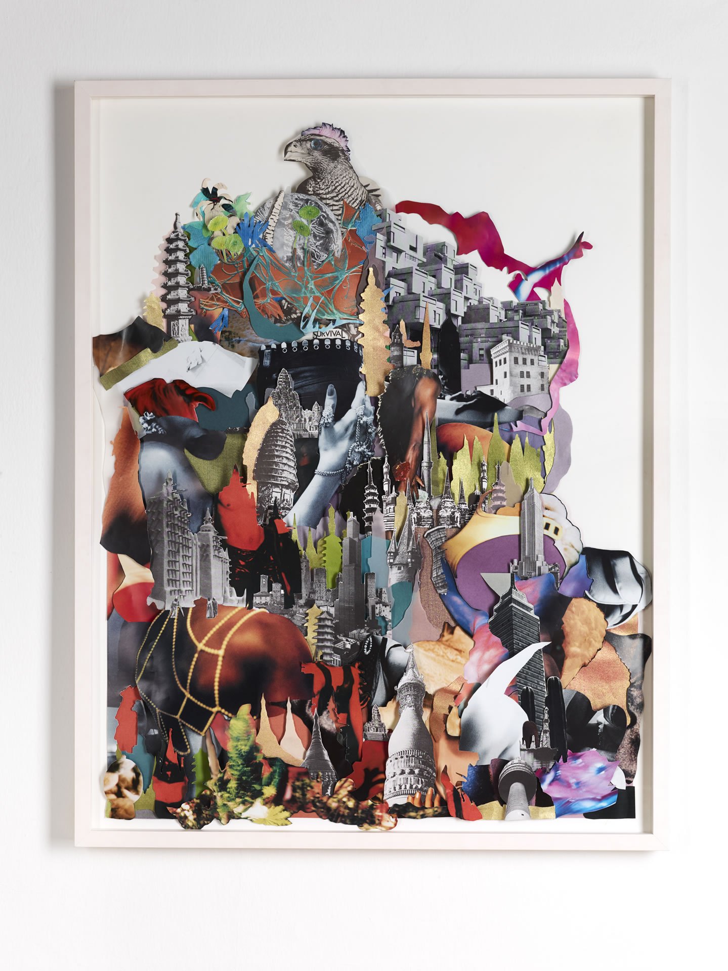 Galerie3 | Karen Elliot | Tower Of Survival | Collage | 2017 . 18 | 85 x 65 cm | Foto: Johannes Puch