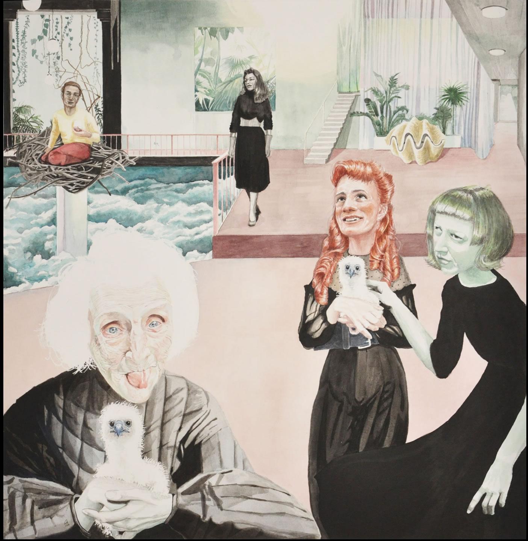 Galerie3 | Kopfkino | 13 | Annemarie Arzberger | 2016 | Vogelhaus | Aquarell | 47x47cm | Foto Annemarie Arzberger