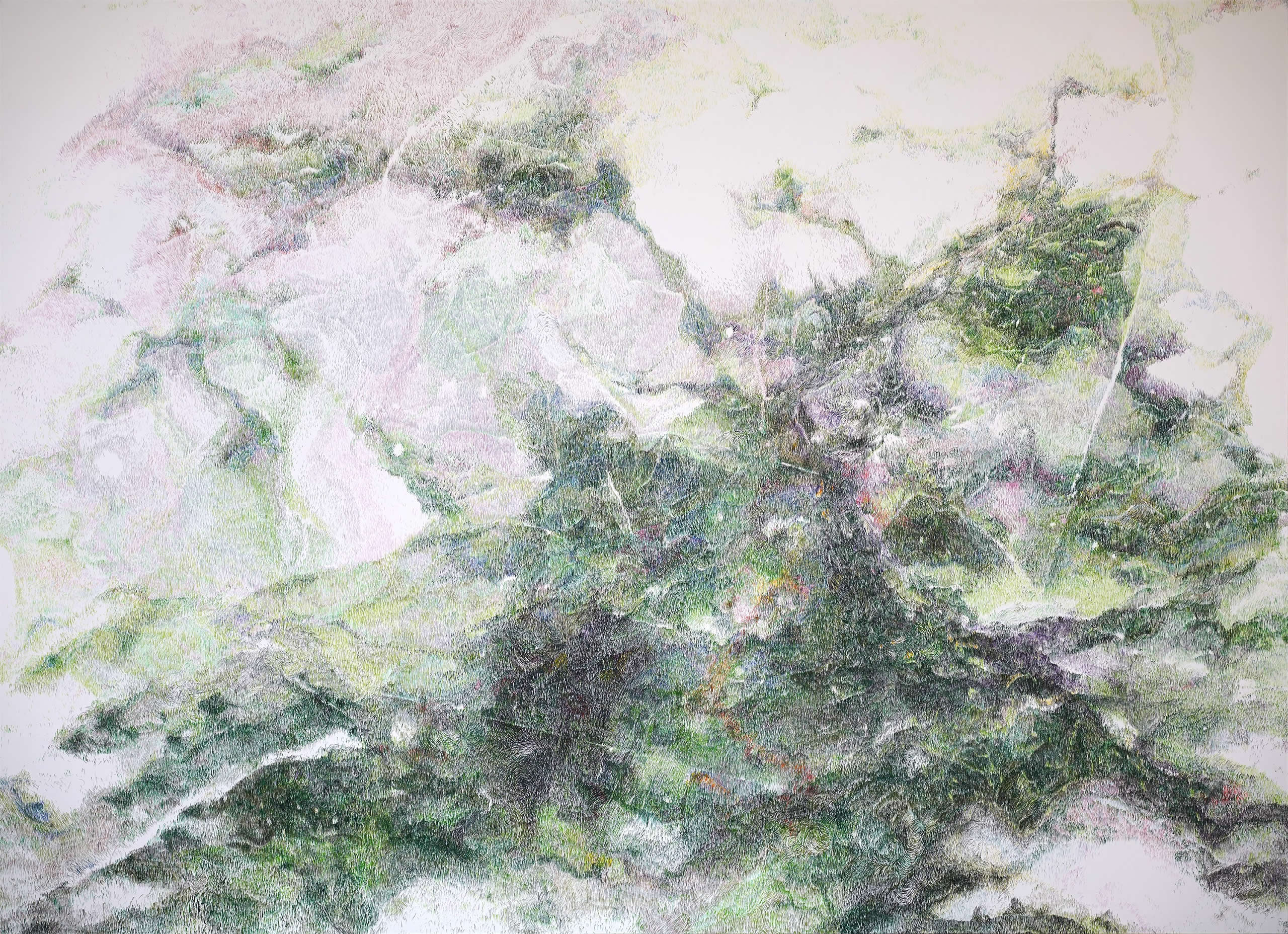 Linda Berger | Grün fact13 | 2018 | Tusche auf Papier | 146x200cm | Art Austia 2019 | Galerie3