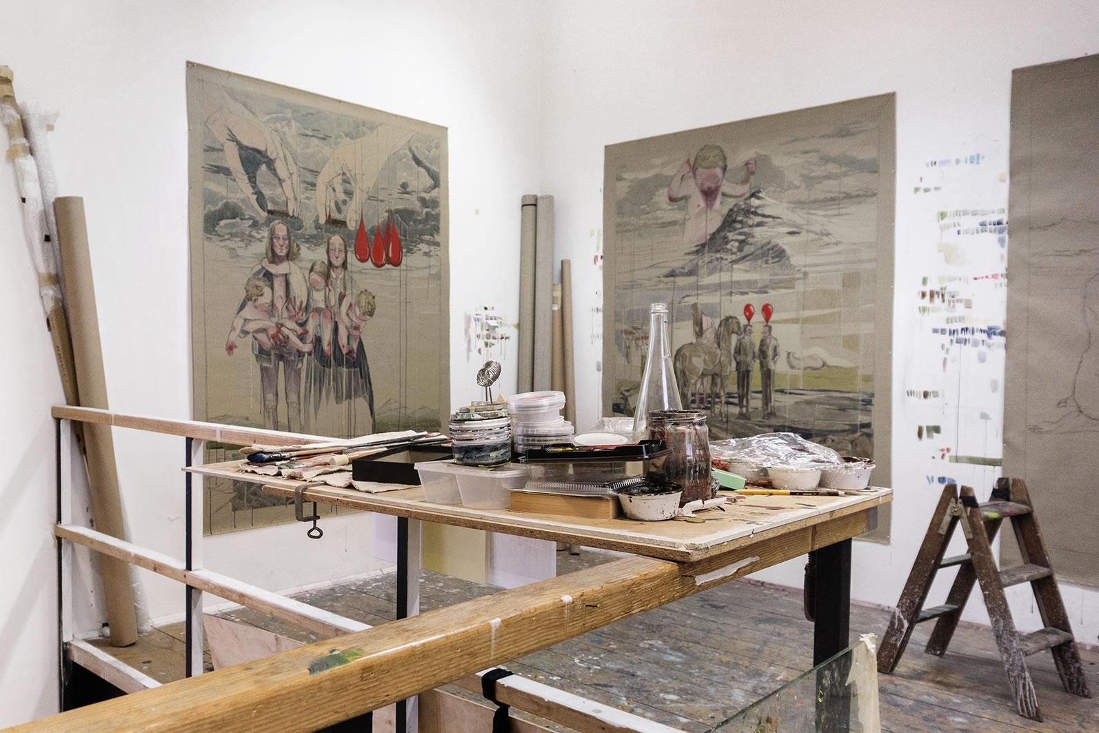 Maria Legat | Atelieransicht Akademie der bildenden Künste | Einladung Art Vienna 2017 | Foto: Sandra Kosel | Galerie3