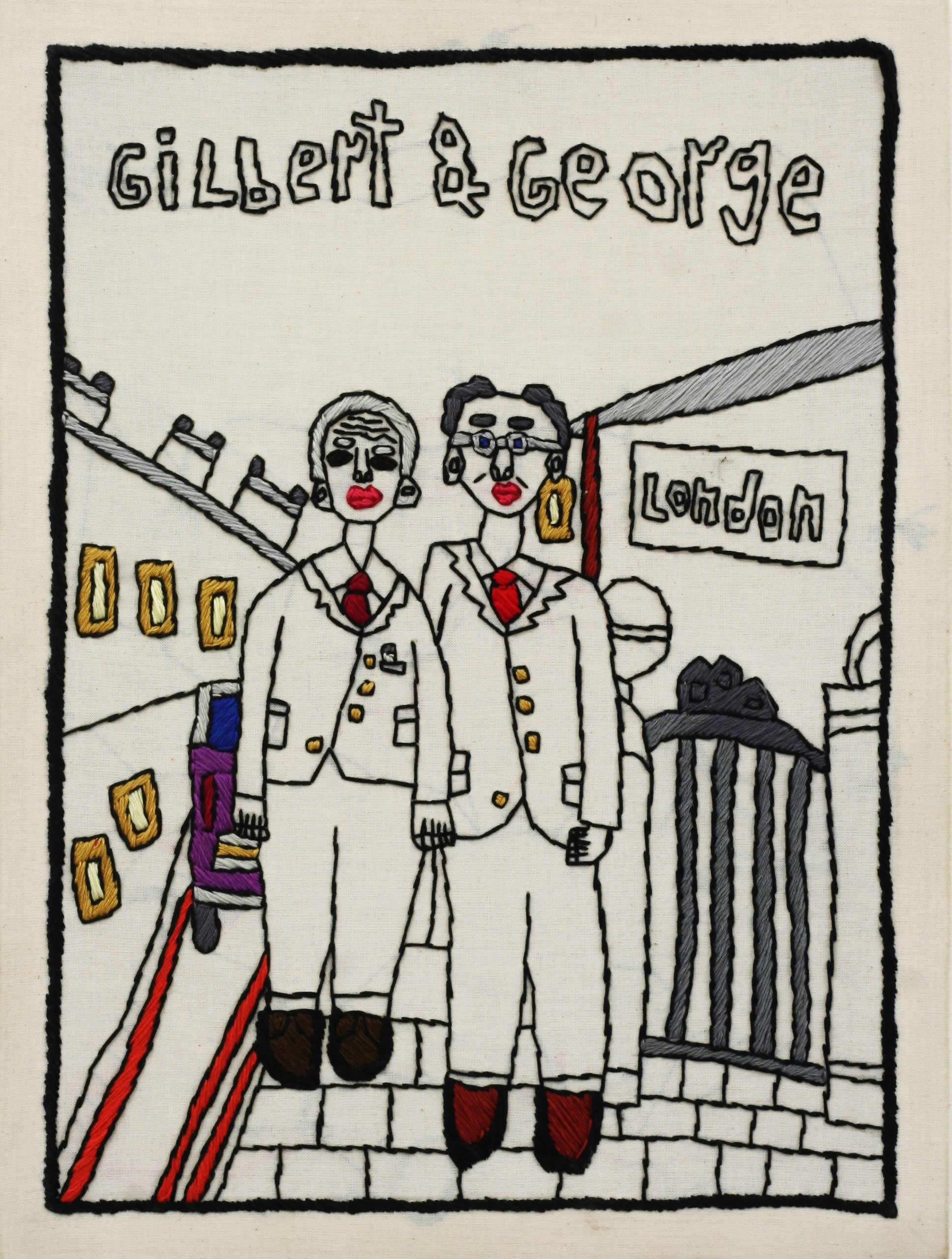 Rohullah Kazimi | Gilbert und George | 2018 | Garn auf Nessel | 40 x 30 cm | Parallel Vienna 2019 | Galerie3